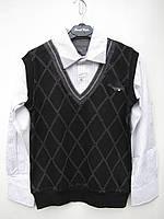 Рубашка-обманка для мальчика 152 роста Ромб жилетка черная
