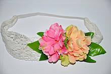 Кружевная повязка на голову с цветами (от 1 шт)
