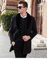 Мужское пальто со съемным меховым воротником. Модель 6350., фото 4
