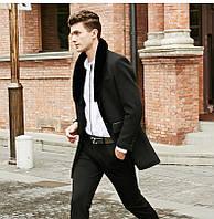 Мужское пальто со съемным меховым воротником. Модель 6350., фото 2