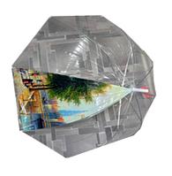 Женский зонт Трость (прозрачный купол, одна секция рисунок город, 8 спиц)