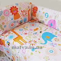Защитный бампер в кроватку «Квіти» бежевый, фото 1