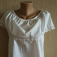 Блузка белая котоновая с кружевом