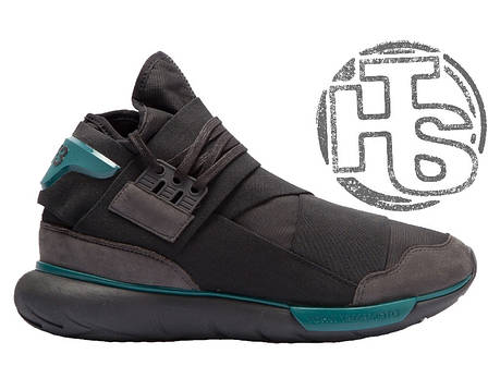 Мужские кроссовки Adidas Y-3 Qasa High Black/Teal BB4735, фото 2