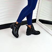 Хит продаж!  Женские демисезонные кожаные ботинки Hermes черного цвета, 36, 39, 40р