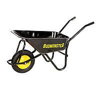 Тачка BudMonster будівельна 1-колісна, кузов чорний 80л, рама чорна, в/п-200кг, колесо пневмо 4х8 (01-007)