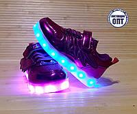 Кроссовки для девочки со светящейся LED подошвой с USB кабелем 27, 28, 29, 30 размеры