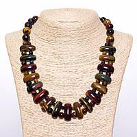 Ожерелье Клеопатра тигровый, бычий и соколиный глаз звено 12*25 мм и шарик 12mm L50см