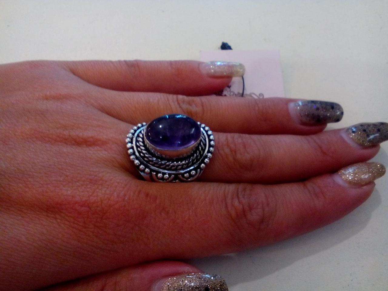 Аметист кольцо с натуральным аметистом в серебре. Размер 18,5. Индия!