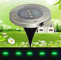 Газонный светильник на солнечной батарее с датчиком освещенности 3LED зеленый