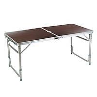Стол складной ДВП/металл прямоугольный 120х60х70см коричневый