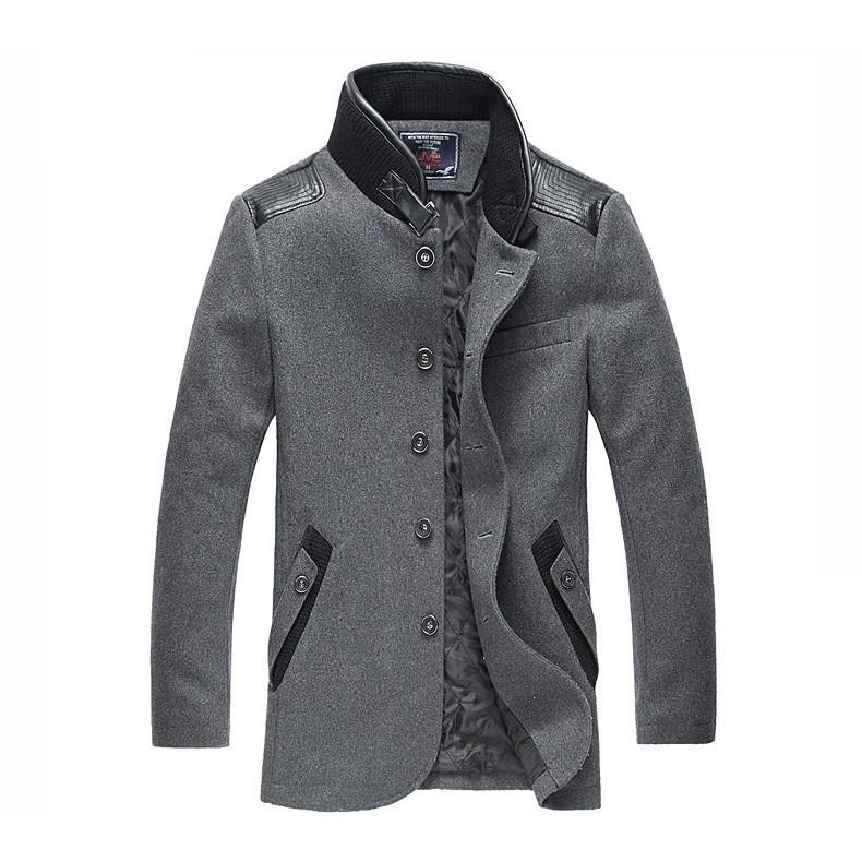 Мужское шерстяное весеннее пальто. Модель 6354