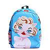 Блакитний рюкзак Мерилін Монро з котейкой
