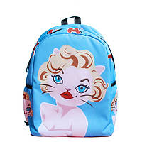 Блакитний рюкзак Мерилін Монро з котейкой, фото 1