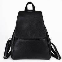Черный женский рюкзак М104-47 городской матовый вместительный, фото 1