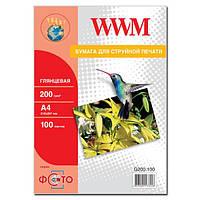 Фотобумага wwm глянцевая 200г/м кв, a4, 100л (g200.100)