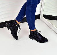 Высокие туфли CLASSIC материал натуральный нубук, декор напыление синий звездочки