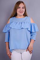 Астра. Нежная блуза с воланом размера плюс. Голубой.