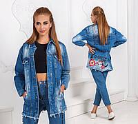 Джинсовая женская курточка рубашка с цветочком