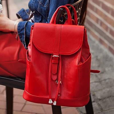 """Кожаный женский рюкзак """"Олсен"""" Рубин"""