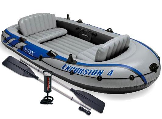 Трехкамерная надувная лодка под транец Intex 68324 Човен 315х165х43 см