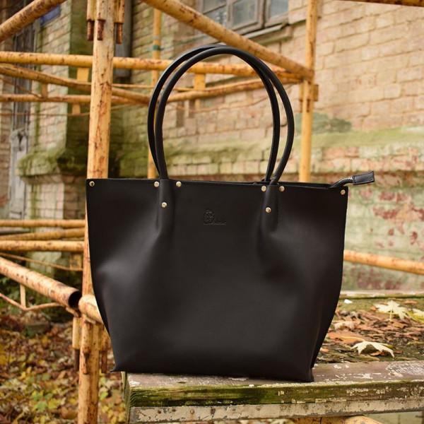 cbe11236119c Женская черная кожаная сумка Скарлетт для покупок. Ручная работа