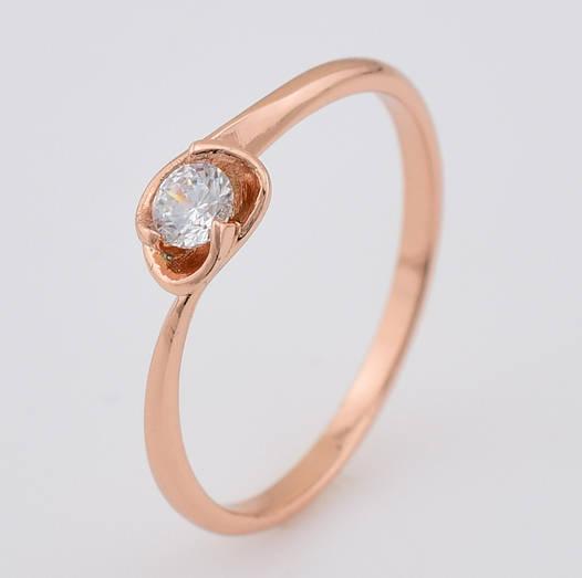 Кольцо 13966 размер 20, белый камень, позолота РО