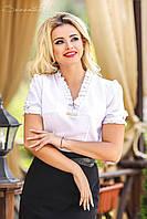 Біла блуза з мереживним коміром в діловому стилі 42-48 розміри, фото 1