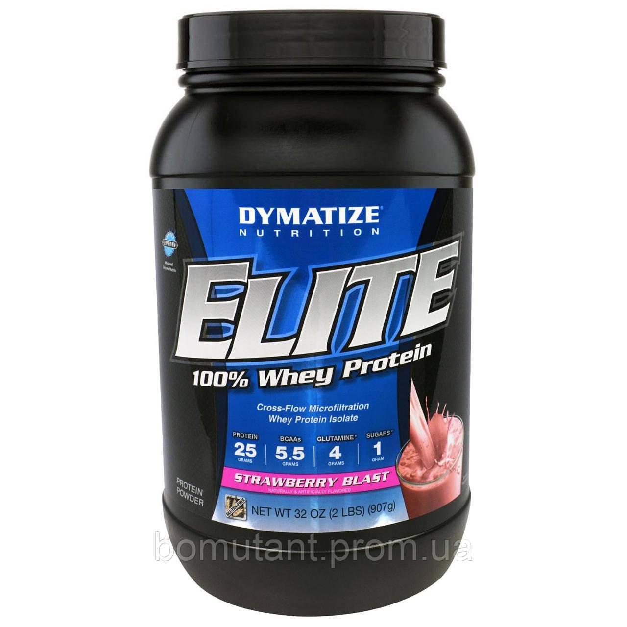 Elite Whey Protein Isolate 907 гр взрывная клубника Dymatize