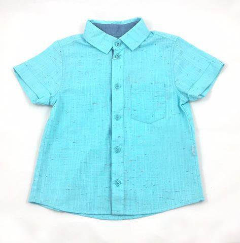 Льняная рубашка для мальчика Бемби, бирюза (р.104,110,116)