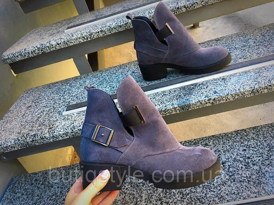40 размер! Стильные женские ботинки Diezzzl серый замш