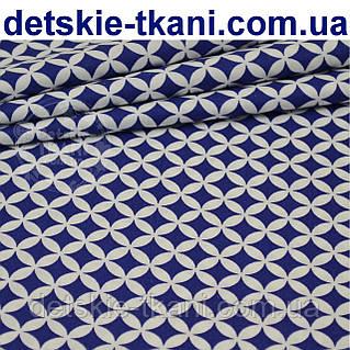 Ткань с сеткой из лепестков синего цвета (№223а)