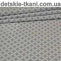 Ткань с сеткой из лепестков серого цвета (№225а)