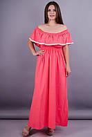 Ксения. Модное летнее платье больших размеров. Розовый.