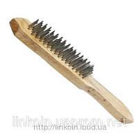 Щетка по металлу 4-х рядная с деревянной ручкой