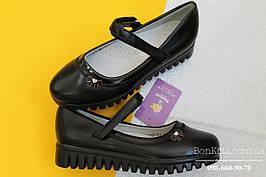 Черные туфли для девочки тракторная подошва тм Tom.m р. 27,28,29