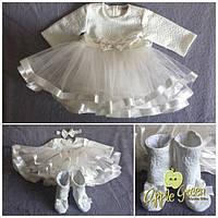 """Красивое пышное молочное детское платье """"Добряна"""", фото 1"""