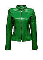 Куртка кожаная Agnes приталенная зеленая