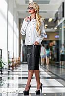 Модна офісна блуза з вишивкою 44-50 розміри, фото 1