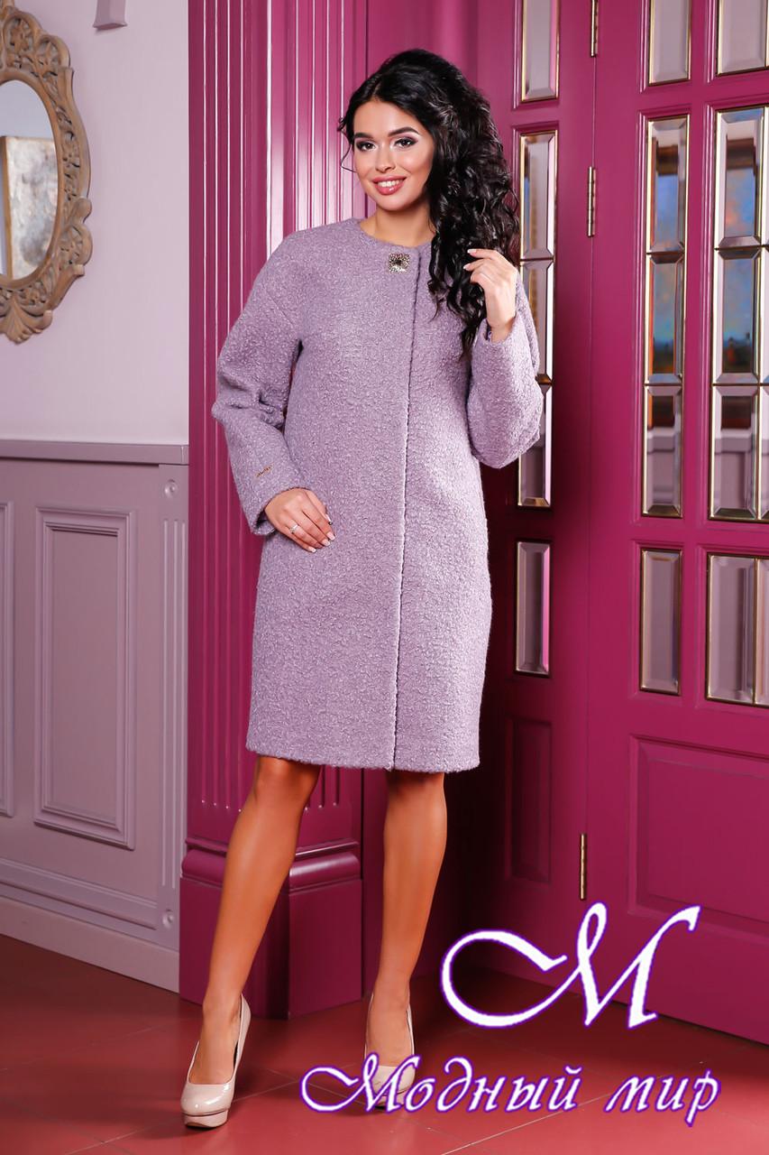Женское сиреневое демисезонное пальто из букле (р. 44-66) арт. 1018 Тон 46