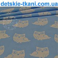 Ткань с белыми совами на голубом фоне (№71)
