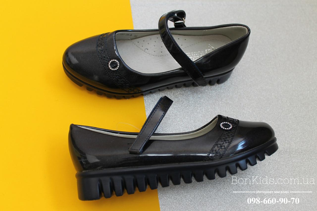 Синие лаковые туфли для девочки рефленая подошва Tom.m р. 27,28,31