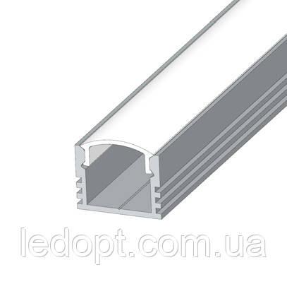 Алюминиевый профиль накладной углубленный ЛП-12 (рассеиватель матовый или прозрачный)