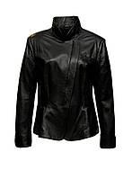 Куртка кожаная Adamo приталенная с баской черная