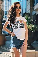 Женская белая футболка с надписями. Ткань: коттон. Размер: универсальный смл.