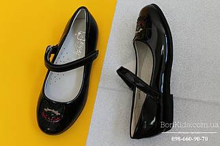 Черные лакированные туфли на девочку пряжка котик тм BIKI р. 27,28, фото 3