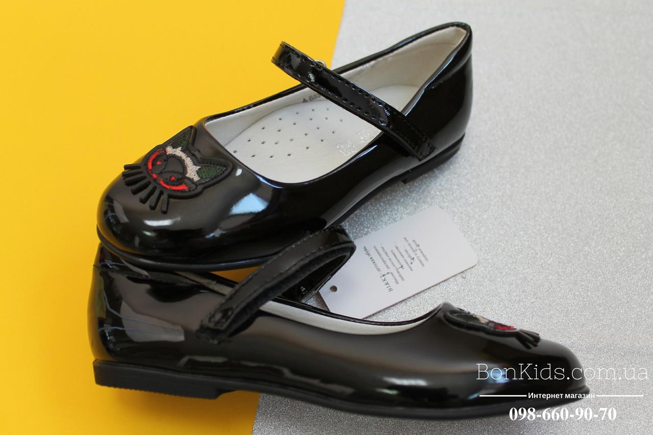 Черные лакированные туфли на девочку пряжка котик тм BIKI р. 27,28