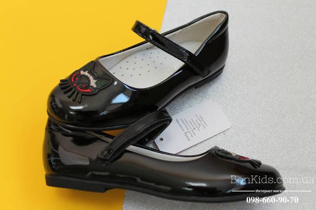 Черные лакированные туфли на девочку пряжка котик тм BIKI р. 27,28, фото 2