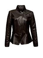 Куртка кожаная Adamo приталенная с баской коричневая