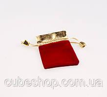 Мешочек бархатный красный с золотом 9х6 см